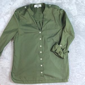 Tibi cotton top in olive/army green
